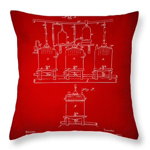 Beer Throw Pillow featuring the digital art 1873 Brewing Beer And Ale Patent Artwork - Red by Nikki Marie Smith