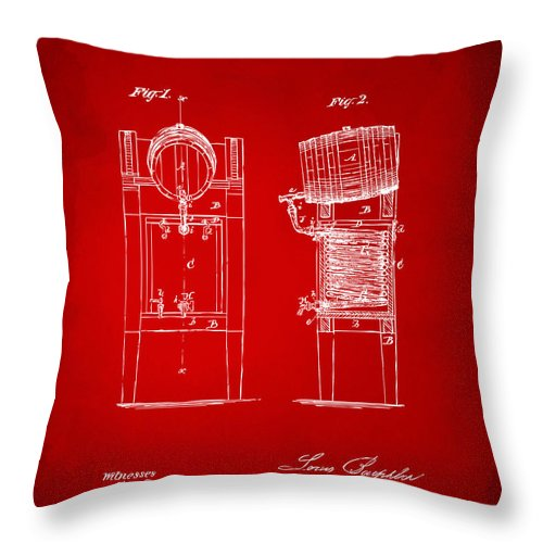 Beer Throw Pillow featuring the digital art 1876 Beer Keg Cooler Patent Artwork Red by Nikki Marie Smith