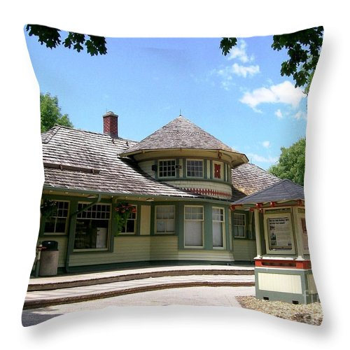 1887 Throw Pillow featuring the photograph 1887 Depot by Laurie Eve Loftin