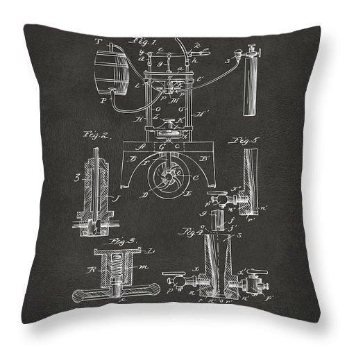 Bottling Machine Throw Pillow featuring the digital art 1890 Bottling Machine Patent Artwork Gray by Nikki Marie Smith