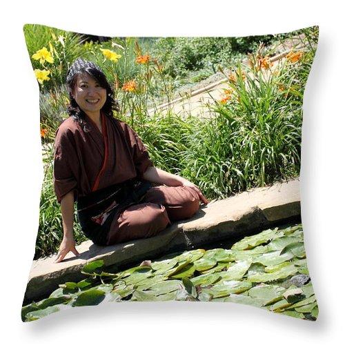 Asian Throw Pillow featuring the photograph Japanese Women by Henrik Lehnerer