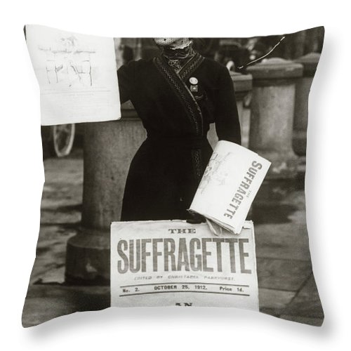 Photography Throw Pillow featuring the photograph 1900s British Suffragette Woman by Vintage Images