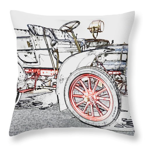1907 Throw Pillow featuring the photograph 1907 Cadillac Colored Pencil by Paul Cannon
