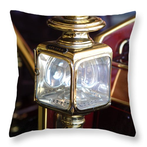 1907 Panhard Et Levassor Lamp Throw Pillow featuring the photograph 1907 Panhard Et Levassor Lamp by Jill Reger