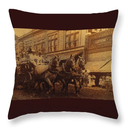 1908 Nickel-plated Nott Steamer Fire Truck July 4th Parade East Congress Tucson Arizona 1909 Throw Pillow featuring the photograph 1908 Nickel-plated Nott Steamer Fire Truck July 4th Parade East Congress Tucson Arizona 1909-2009 by David Lee Guss