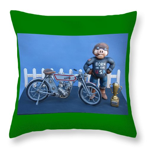 Motorcycle Throw Pillow featuring the sculpture 1909 Hog by Stuart Swartz