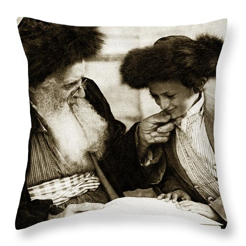Vintage Throw Pillow featuring the painting 1910 Studying The Torah by Historic Image