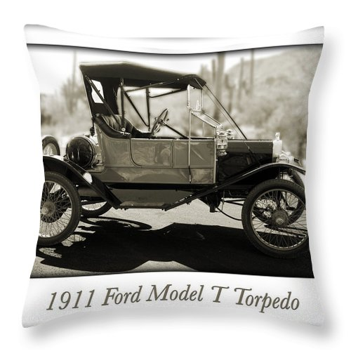 1911 Ford Model T Torpedo Throw Pillow featuring the photograph 1911 Ford Model T Torpedo by Jill Reger