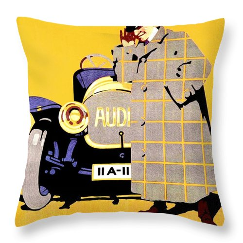 1912 Throw Pillow featuring the digital art 1912 - Audi Automobile Advertisement Poster - Ludwig Hohlwein - Color by John Madison