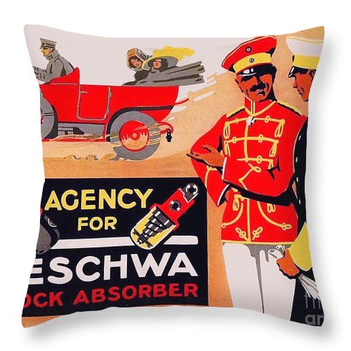 1913 Throw Pillow featuring the digital art 1913 - Geschwa Automobile Shock Absorber Adbertisement - Color by John Madison