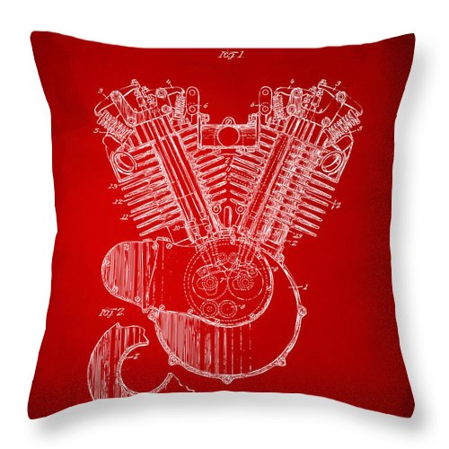 Harley-davidson Throw Pillow featuring the digital art 1923 Harley Engine Patent Art Red by Nikki Marie Smith