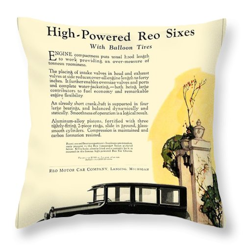 1927 Throw Pillow featuring the digital art 1924 - Reo Six Automobile Advertisement - Color by John Madison