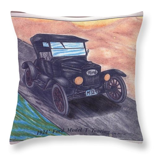 Classic Throw Pillow featuring the painting 1924' Ford Model-t Touring by Gene Pippert