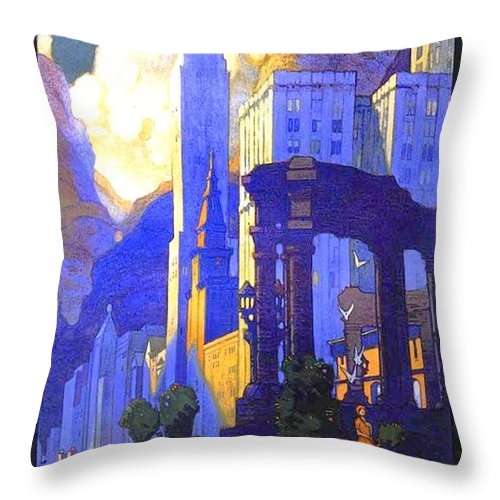 1926 Throw Pillow featuring the digital art 1926 - New York Central Railroad - Chicago Travel Poster - Color by John Madison