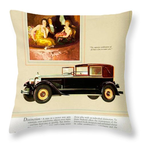 1926 Throw Pillow featuring the digital art 1926 - Packard Automobile Advertisement - Color by John Madison