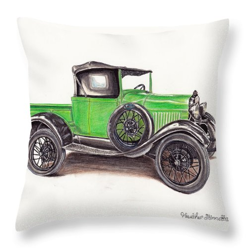 Truck Throw Pillow featuring the drawing 1926 Ford Truck by Heather Stinnett