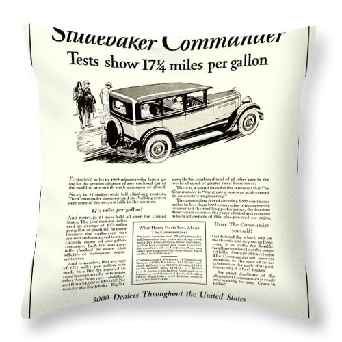 Classic Car Throw Pillow featuring the digital art 1927 - Studebaker Commander Automobile Advertisement by John Madison