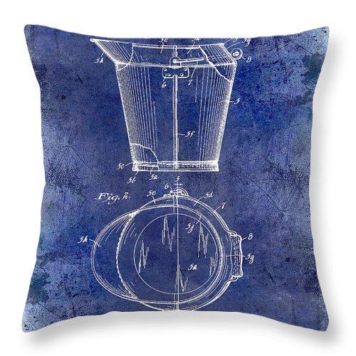 1928 Milk Pail Patent Drawing Throw Pillow featuring the photograph 1928 Milk Pail Patent Drawing Blue by Jon Neidert