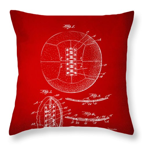 1928 Soccer Ball Lacing Patent Artwork - Red Throw Pillow