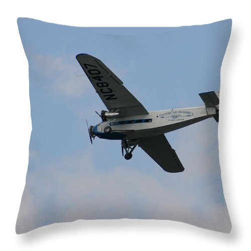 Air Throw Pillow featuring the photograph 1929 Ford Tri Motor Mail Plane Side by David Dunham