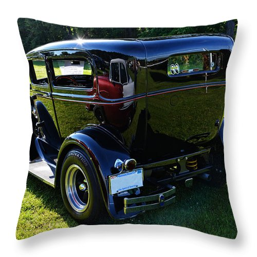Ford Throw Pillow featuring the photograph 1930 Ford Model A Sedan by Mike Martin