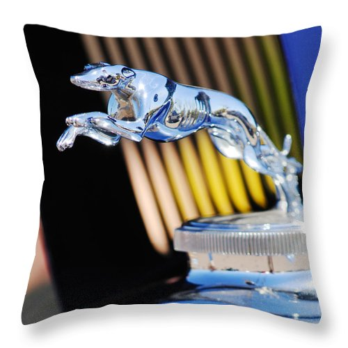 1930 Lincoln L Judkins Berline Hood Ornament Throw Pillow featuring the photograph 1930 Lincoln L Judkins Berline Hood Ornament by Jill Reger