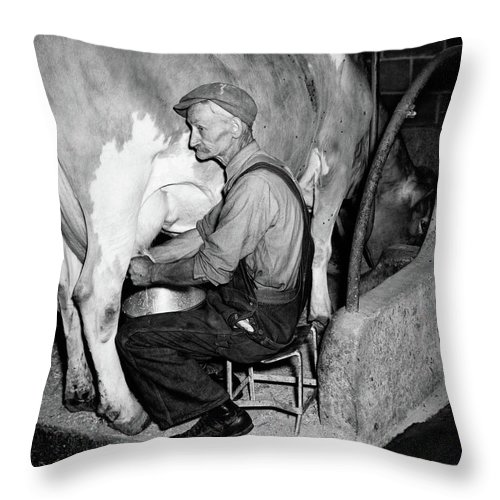 Photography Throw Pillow featuring the photograph 1930s 1940s Elderly Farmer In Overalls by Vintage Images