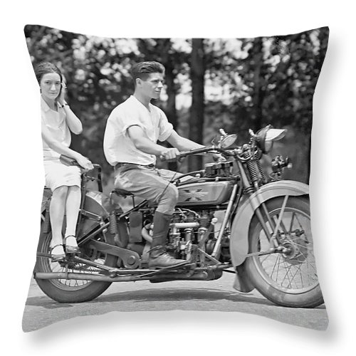 Motorcycle Throw Pillow featuring the photograph 1930s Motorcycle Touring by Daniel Hagerman