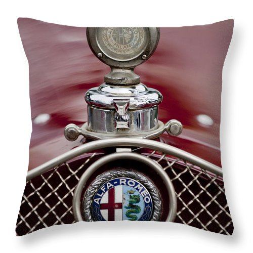 1931 Alfa-romeo Throw Pillow featuring the photograph 1931 Alfa-romeo Hood Ornament by Jill Reger