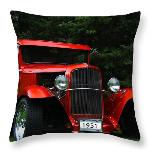 Car Throw Pillow featuring the photograph 1931 Ford Panel Delivery Truck by Davandra Cribbie