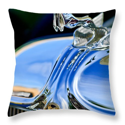 1933 Chrysler Imperial Throw Pillow featuring the photograph 1933 Chrysler Imperial Hood Ornament 3 by Jill Reger