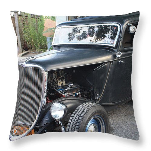 1933 Ford Two Door Sedan Front And Side View Throw Pillow featuring the photograph 1933 Ford Two Door Sedan Front And Side View by John Telfer