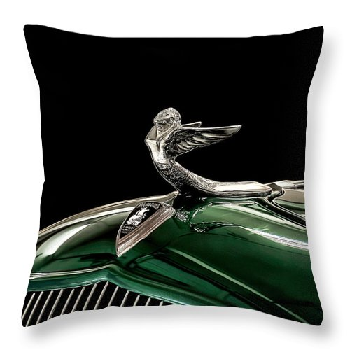 Vintage Throw Pillow featuring the digital art 1933 Plymouth Mascot by Douglas Pittman