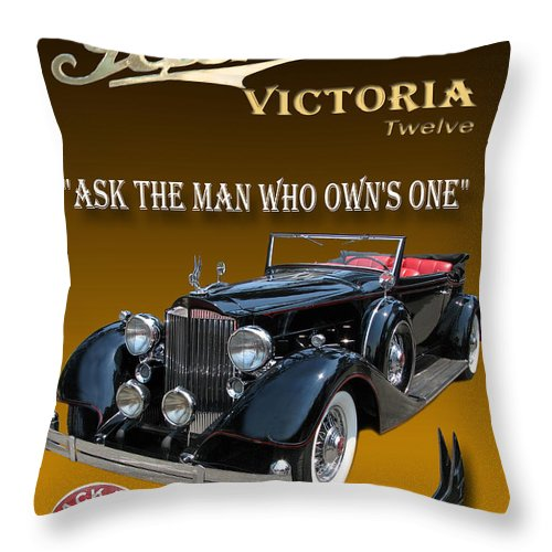 Photography By Jack Pumphrey Used In Advertising Throw Pillow featuring the photograph 1934 Packard by Jack Pumphrey