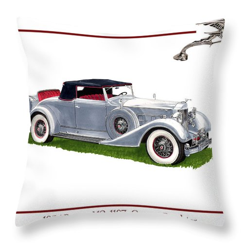 Watercolor Art Of A 1934 Packard V-12 1107 Coupe Roadster Throw Pillow featuring the painting 1934 Packard Twelve 1107 Coupe by Jack Pumphrey