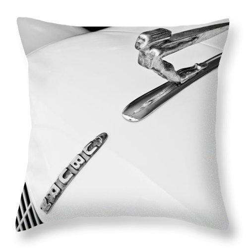 1935 Auburn Boat Tail Speedster Throw Pillow featuring the photograph 1935 Auburn Boattail Speedster Hood Ornament by Jill Reger