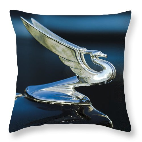 1935 Chevrolet Sedan Throw Pillow featuring the photograph 1935 Chevrolet Sedan Hood Ornament by Jill Reger
