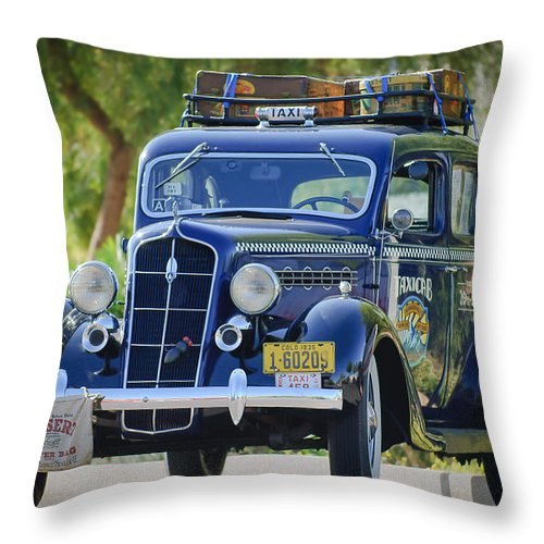 1935 Plymouth Taxi Cab Throw Pillow featuring the photograph 1935 Plymouth Taxi Cab by Jill Reger