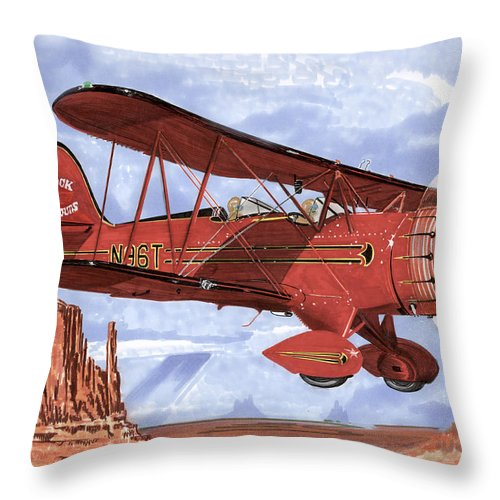 1935 Waco Bi-plane. Framed Prints Of Bi-wing Aircraft. Post Cards Of Old Airplanes. Framed Prints Of Utah Throw Pillow featuring the painting Monument Valley Bi-plane by Jack Pumphrey