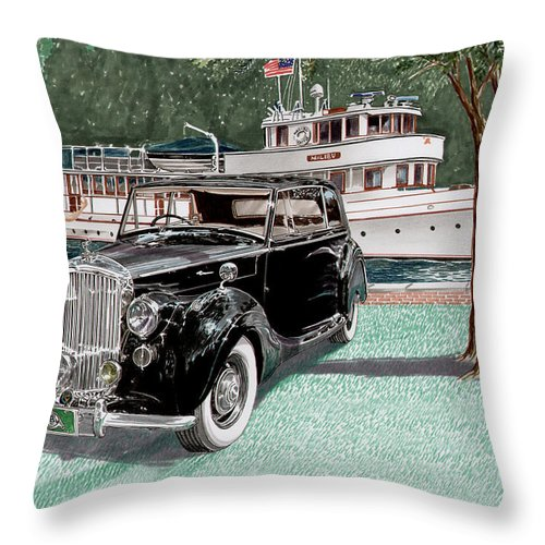 Classic 1936 Bentley British Car Art Throw Pillow featuring the painting Bentley Waving To Malibu by Jack Pumphrey
