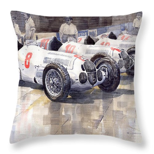 Watercolour Throw Pillow featuring the painting 1937 Monaco Gp Team Mercedes Benz W125 by Yuriy Shevchuk