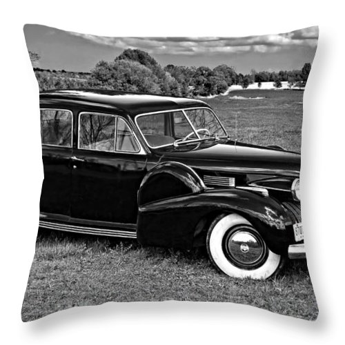 Car Throw Pillow featuring the photograph 1940 Cadilac Bw by Steve Harrington