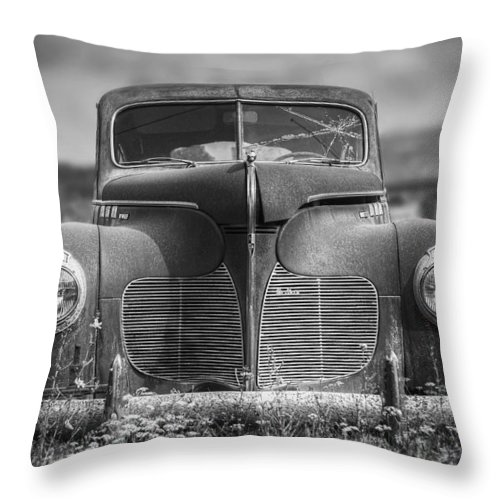Desoto Throw Pillow featuring the photograph 1940 DeSoto Deluxe Black and White by Scott Norris