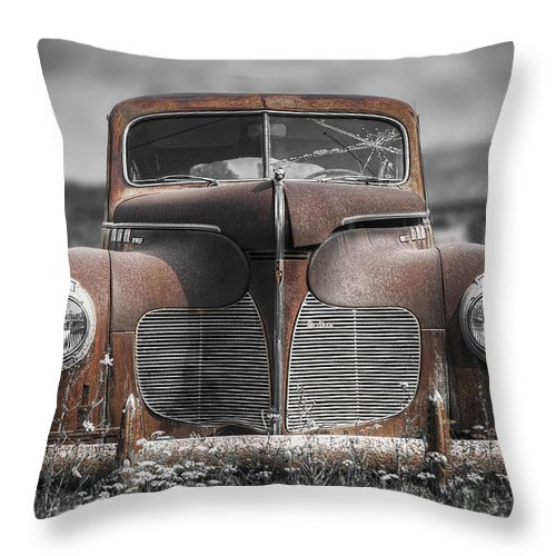 Desoto Throw Pillow featuring the photograph 1940 Desoto Deluxe With Spot Color by Scott Norris