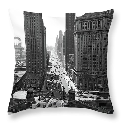 Photography Throw Pillow featuring the photograph 1940s Downtown Skyline Michigan Avenue by Vintage Images