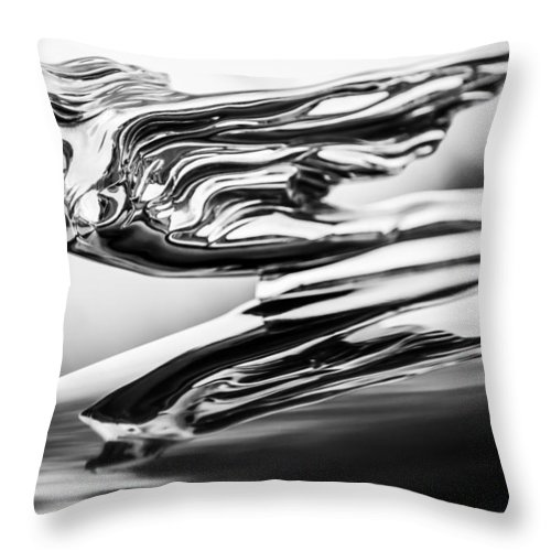 1941 Cadillac Throw Pillow featuring the photograph 1941 Cadillac Hood Ornament 4 by Jill Reger