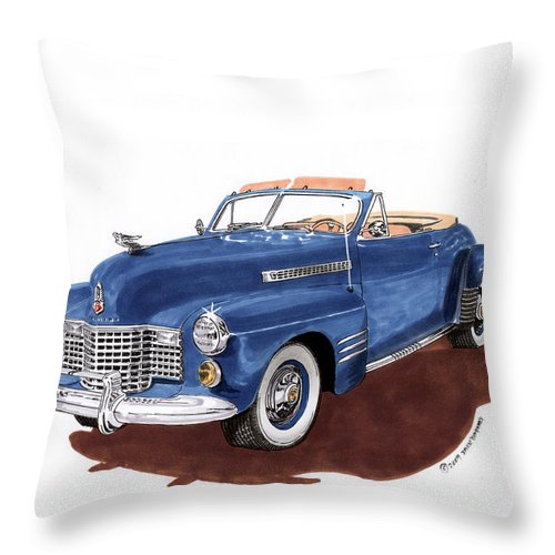 Classic Car Paintings Throw Pillow featuring the painting 1941 Cadillac Series 62 Convertible by Jack Pumphrey