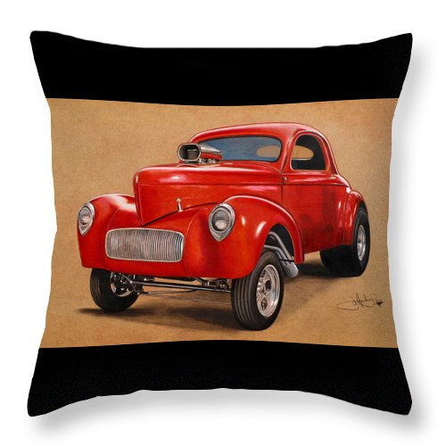 Willys Throw Pillow featuring the drawing 1941 Willys Gasser Coupe Drawing by John Harding