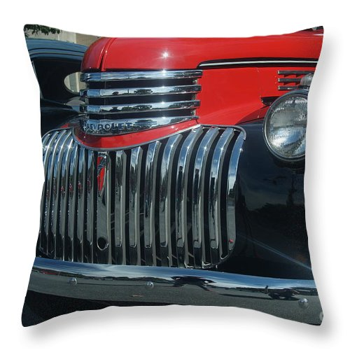 1942 Throw Pillow featuring the photograph 1942 Chevrolet Pickup Truck Grill  # by Rob Luzier