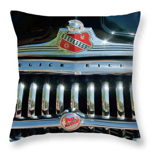 1947 Buick Throw Pillow featuring the photograph 1947 Buick Sedanette Grille by Jill Reger